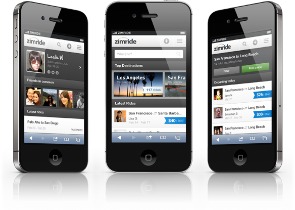 Zimride for Mobile Web screens